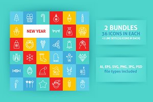 New Year Line Art Icons