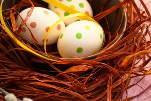 Easter composition with colored eggs. Happy Easter
