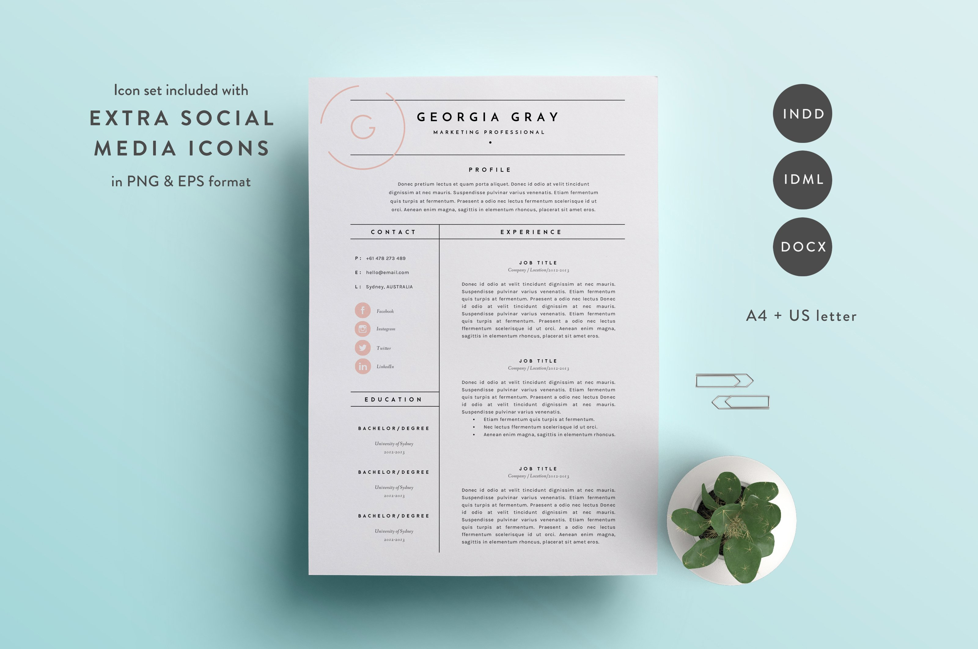 resume template 3 page cv template resume templates creative market - Templates Of Resumes