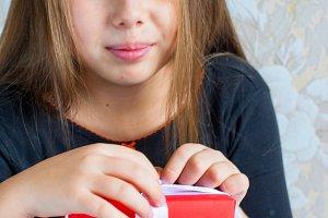 Children girl of christmas morning