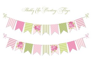 Shabby chic bunting flags