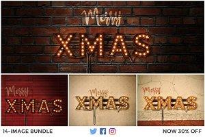 LightBulb Merry Christmas Signs