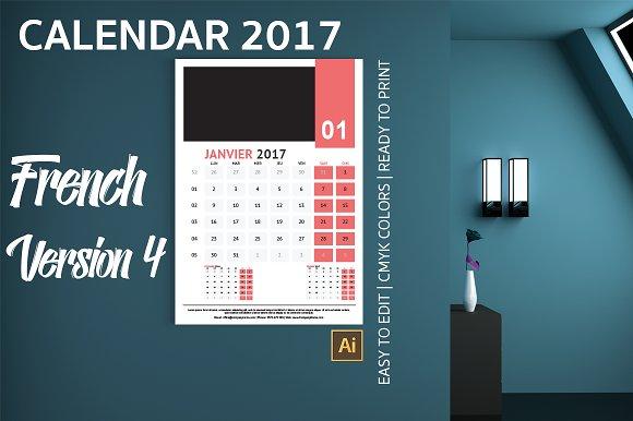 French Wall Calendar 2017 Version 4