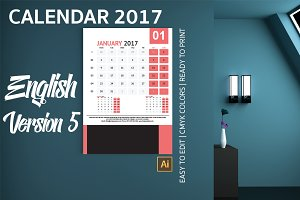 English Wall Calendar 2017 Version 5