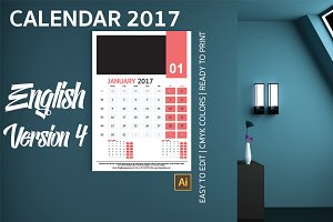 English Wall Calendar 2017 Version 4