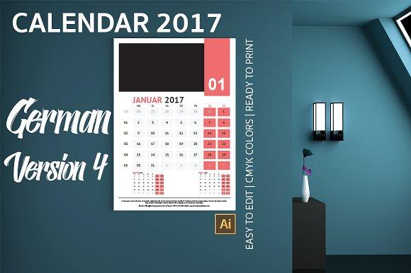 German Wall Calendar 2017 Version 4