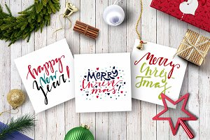 Handdrawn Merry Christmas postcards.