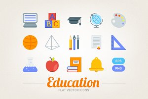 Flat educational icons