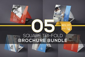 5 in 1 Square Tri-fold Brochure Set