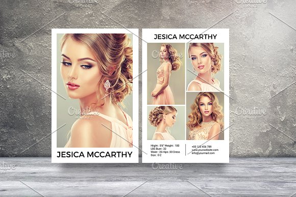 Modeling comp card template v451 flyer templates on for Free model comp card template psd