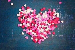 Valentine's Day heart on a dark background. Tinted.
