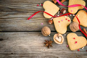 Shortbread Valentine, colorful hearts, ribbons, cinnamon and nut