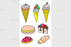 cakes and ice cream icon set