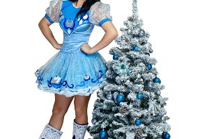 Girl in Christmas costume