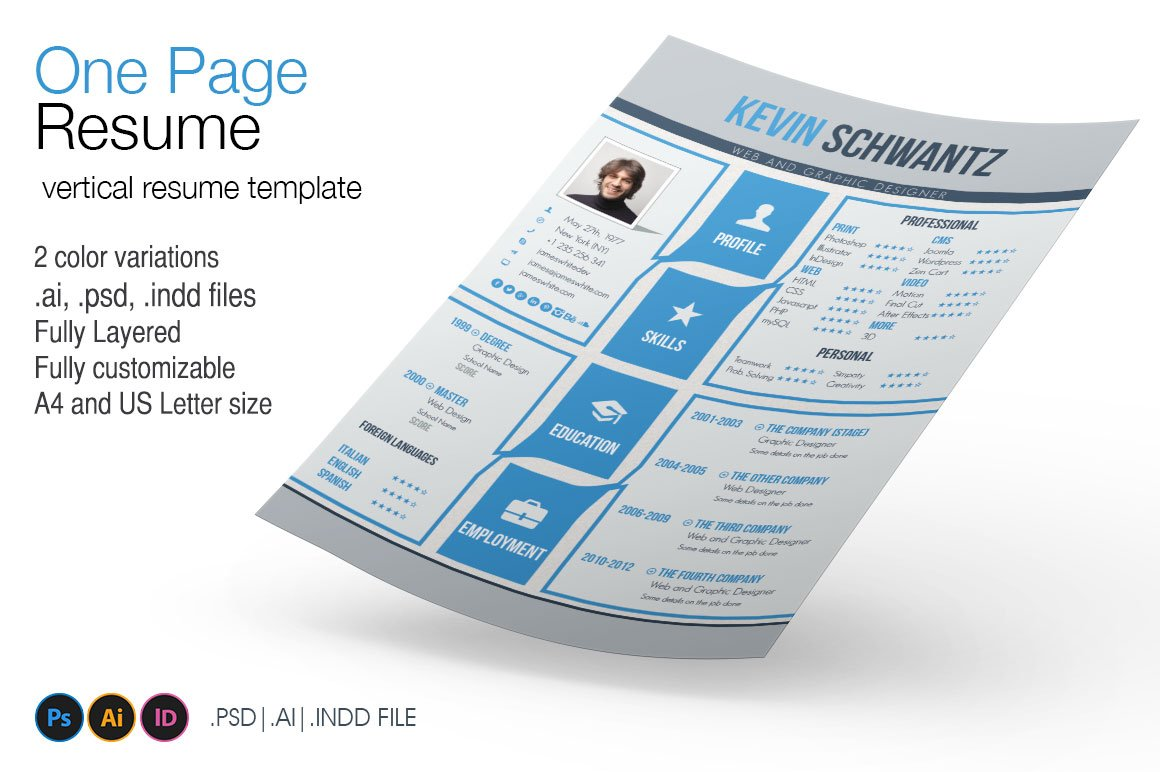 one page resume resume templates creative market