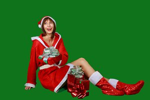 Woman santa claus. Christmas