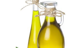 Extra virgin olive oil bottles isolated on white