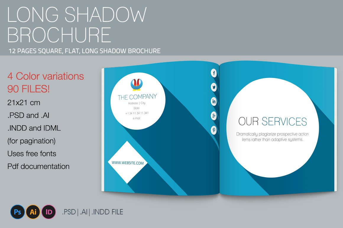 Long Shadow Square Brochure Template Templates Creative Market