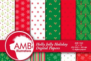 Christmas Digital Papers, 1540