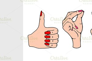 Vector set of hands