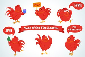 Fire Rooster Clipart and Vectors
