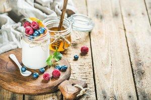 Yogurt with fresh garden berries