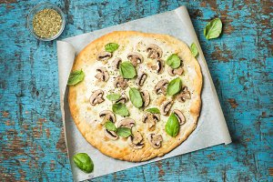 Homemade mushroom pizza