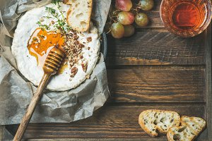 Homemade camembert cheese with honey