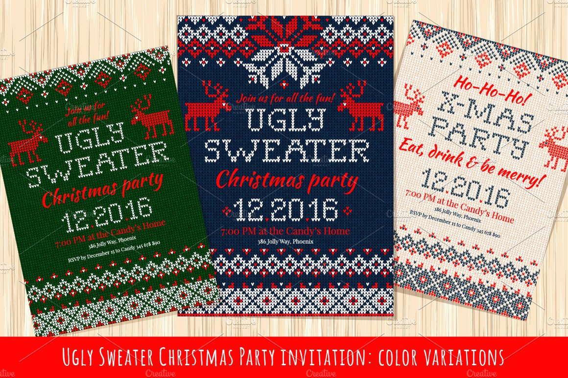 Ugly Sweater Christmas Party Invite ~ Illustrations ~ Creative Market