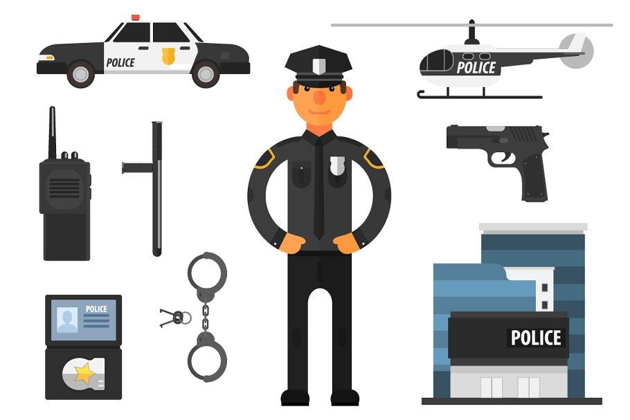 32b99339899703 Policeman Flat style ~ Illustrations ~ Creative Market