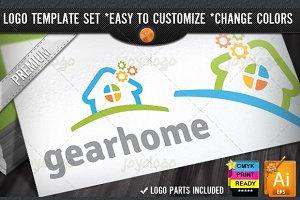 Pixel Gears Home Repair Service Logo