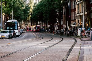 Tram in Amsterdam, the Netherlands