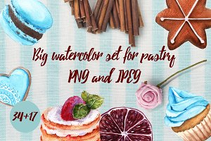 Big watercolor set for pastry