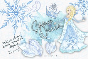 Snow Queen Watercolor Clipart