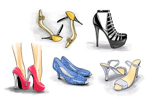 5 pairs of shoes on high heels,vectr