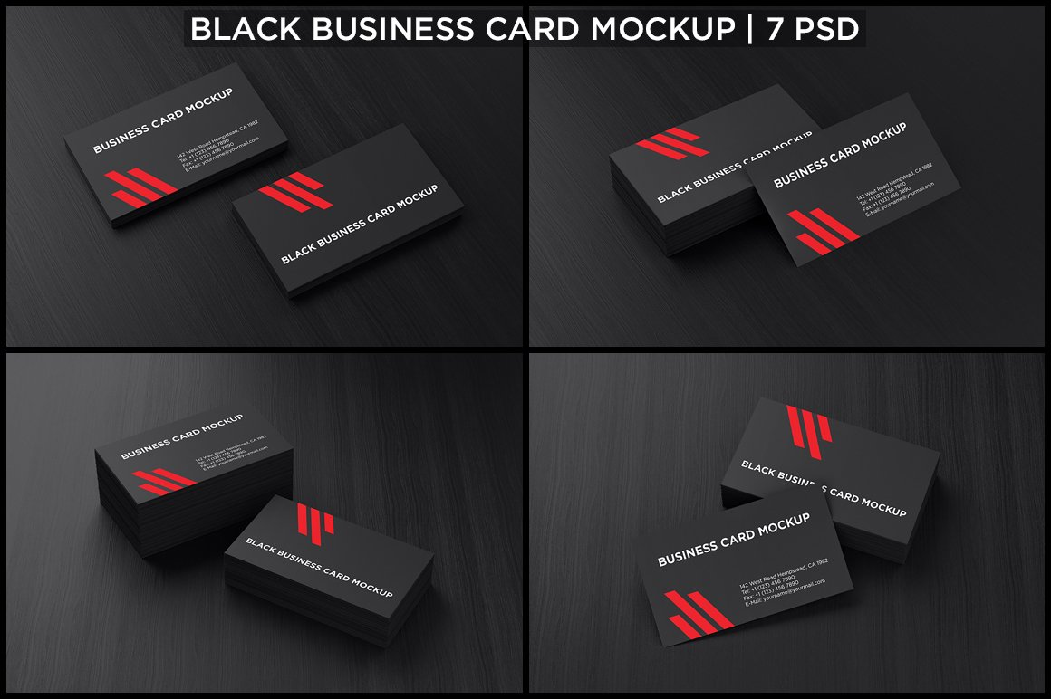 Black business card mockup product mockups creative market reheart