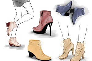 5 pairs of ankle shoes, vector
