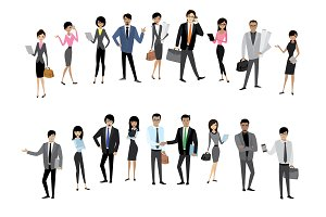 Set Asian business people