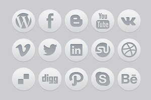 """15 Light Social icons"" + PSD"