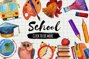 Back to school! 15 watercolor icons