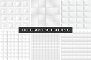 White and gray tile textures set