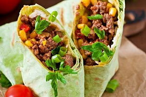 Burritos with minced beef