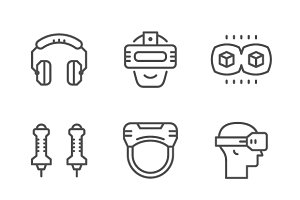 Set line icons of virtual reality