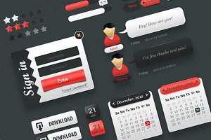 """Red"" Web UI Elements Pack"