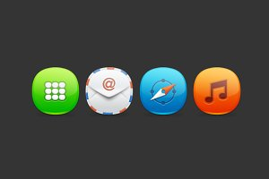 """4 icons"" PSD Template"