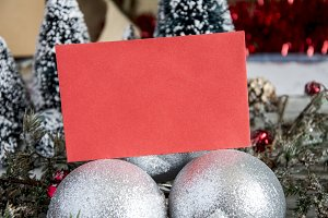 Red paper in Christmas decor