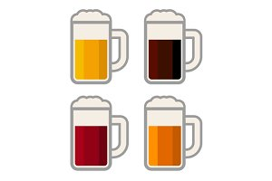 Glasses with Different Color Beers