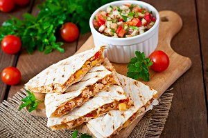 Quesadilla wrap with chicken, corn