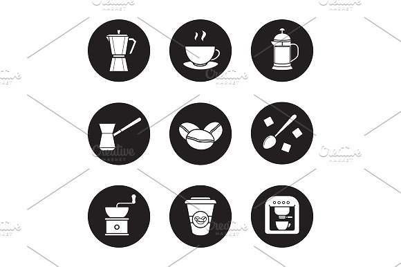 Coffee. 9 icons. Vector - Icons