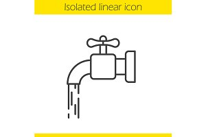 Running tap water icon. Vector